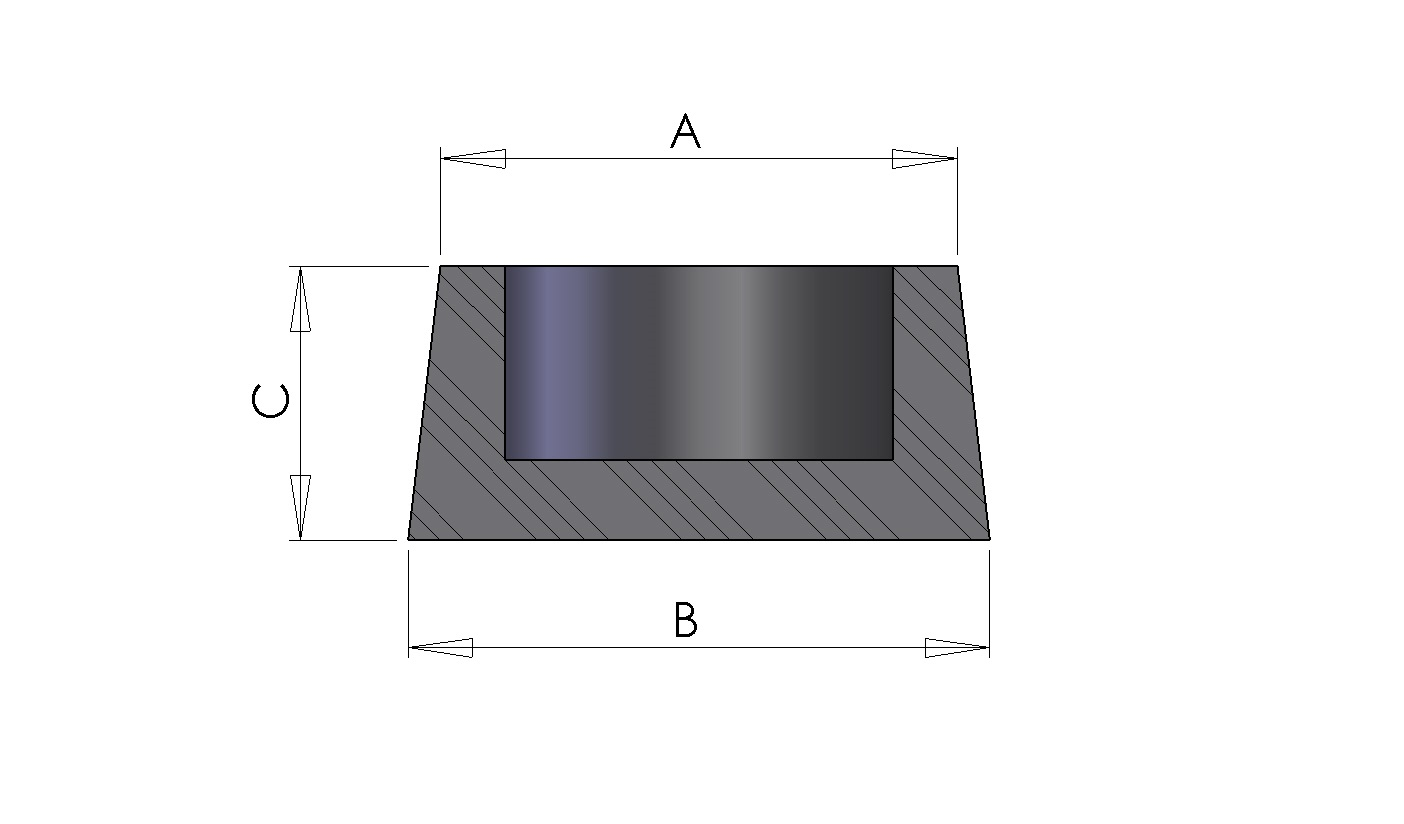 Schéma du Bouchons coniques creux